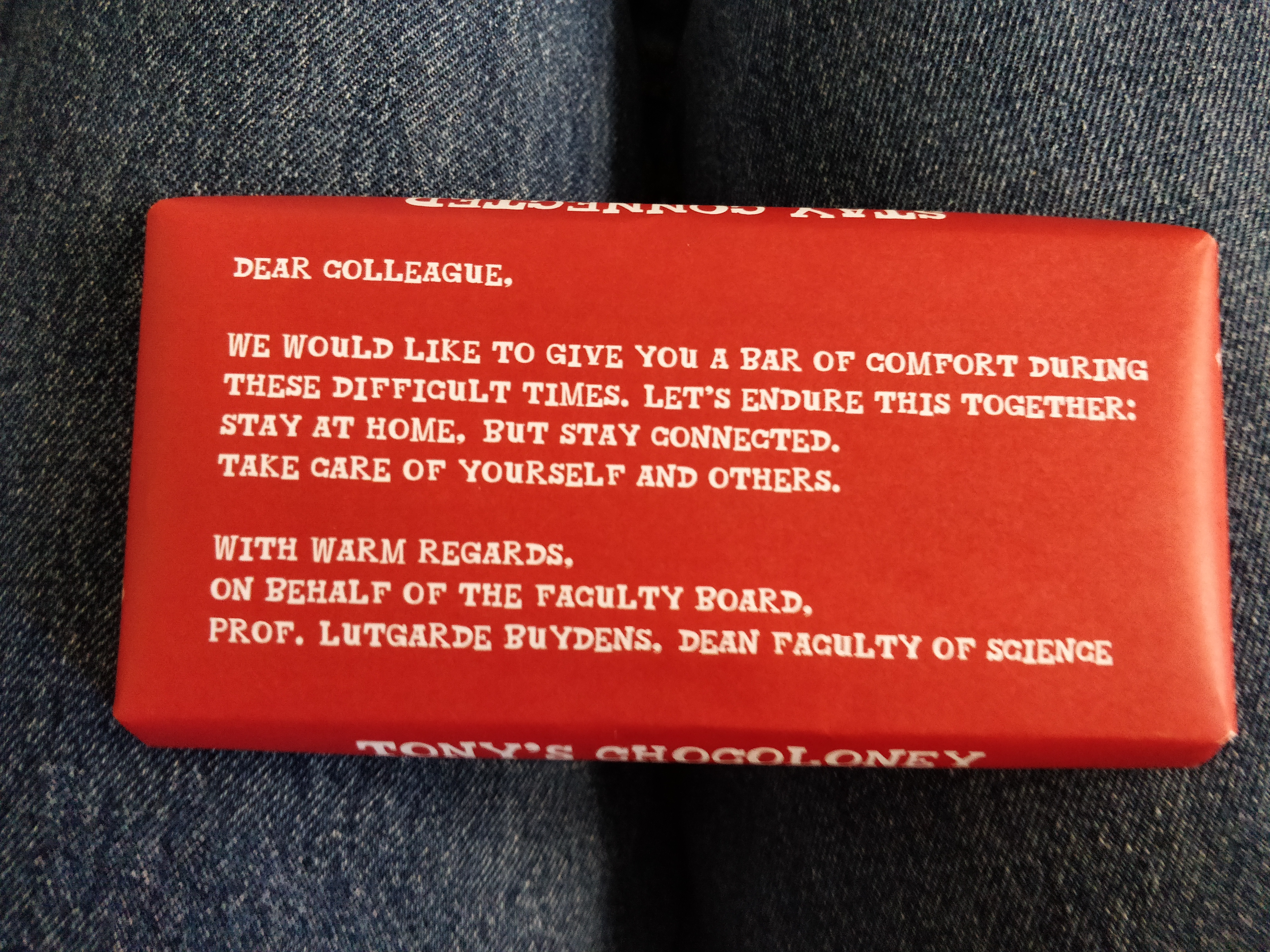 Specially printed wrapper on bar of chocolate.